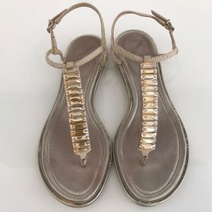 BRIAN ATWOOD BFCALLAS BEIGE CRYSTAL SANDALS SIZE 7